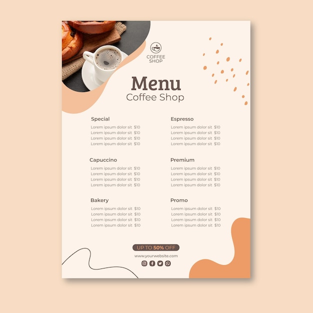 Шаблон меню кафе Бесплатные векторы