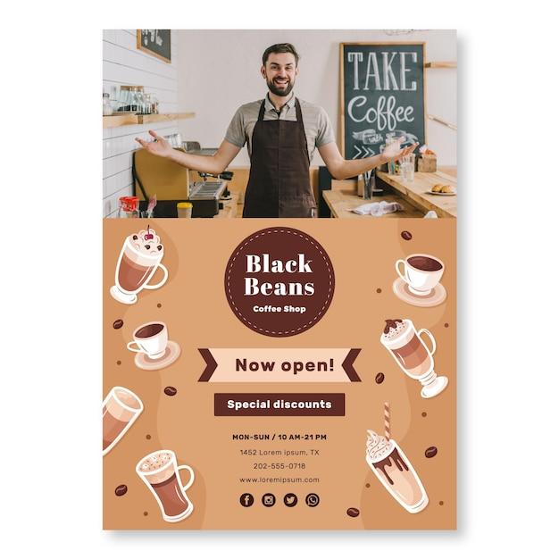 Шаблон плаката кофейни Бесплатные векторы