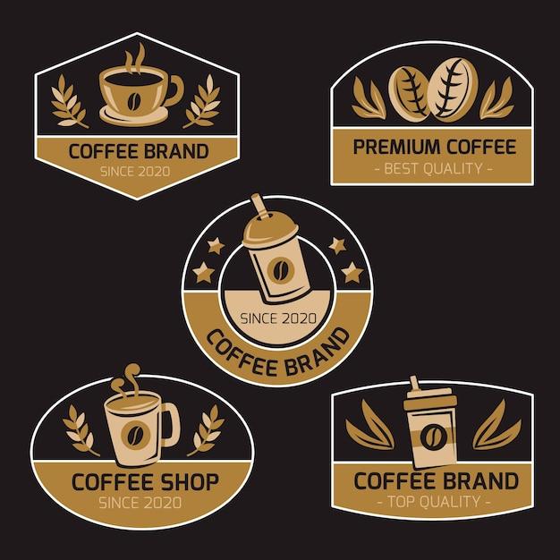 Coffee shop retro design logo collection Premium Vector