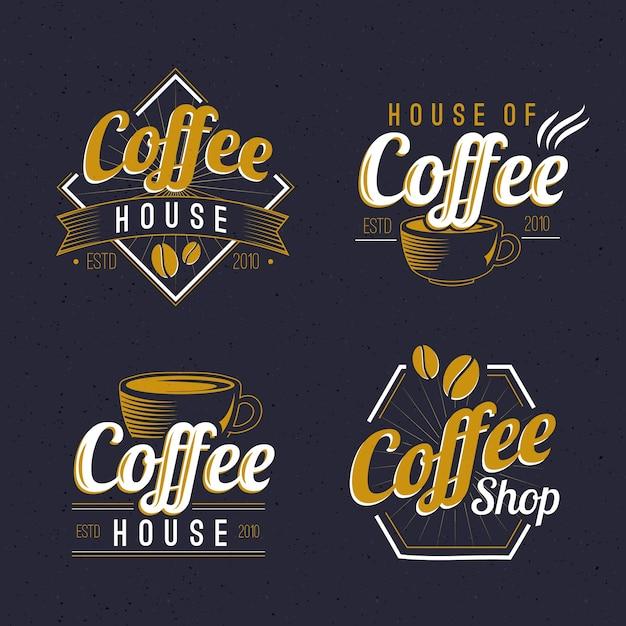 Coffee shop retro logo assortment Free Vector
