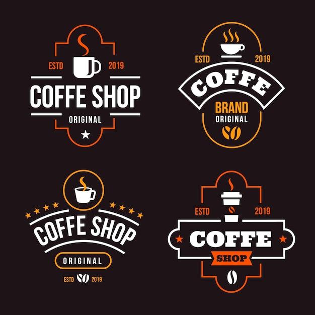 Coffee shop retro logo collection Free Vector
