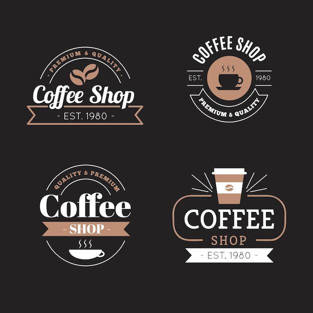 Кафе ретро логотип коллекции Premium векторы