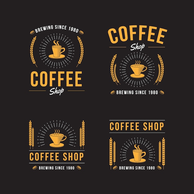 Coffee shop retro logo collection Premium Vector