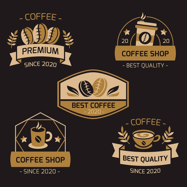 Coffee shop retro logo collection Premium Vector