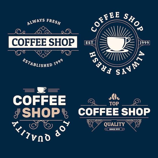 Кофейня ретро логотип коллекции Бесплатные векторы