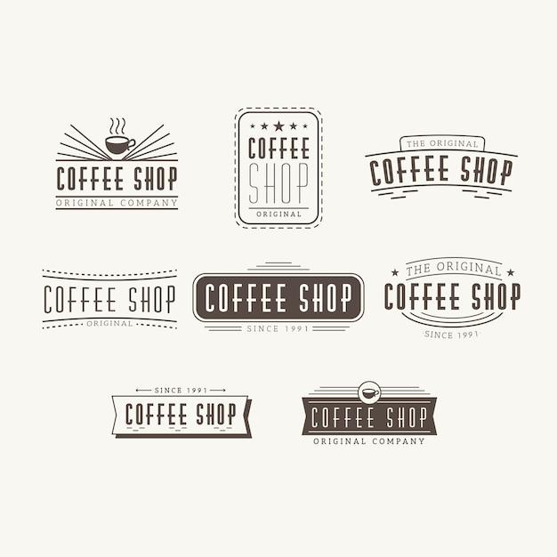 Coffee shop retro logo set Free Vector