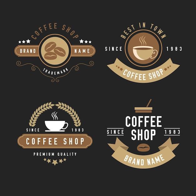 Coffee shop retro logo set Premium Vector