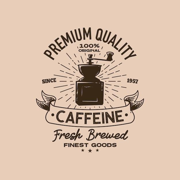 コーヒーショップのレトロなロゴのテンプレート Premiumベクター