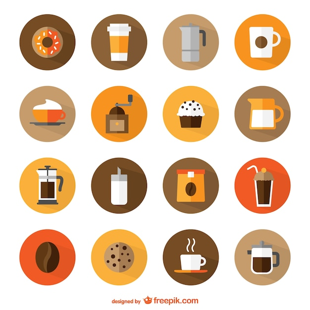 Coffee shop round icons Free Vector