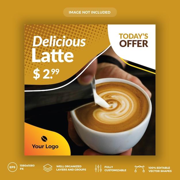 Coffee shop social media banner template Premium Vector