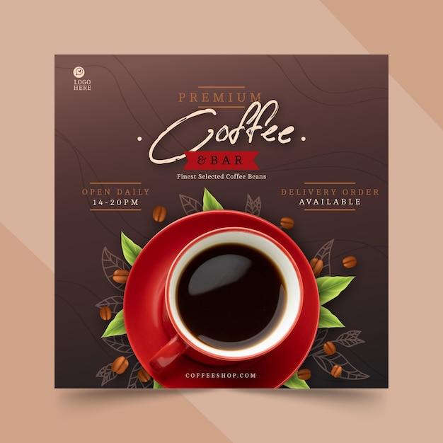 Coffee shop square flyer template Free Vector