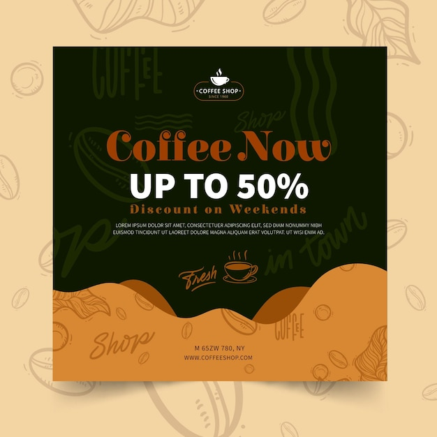 Coffee shop squared flyer template Free Vector