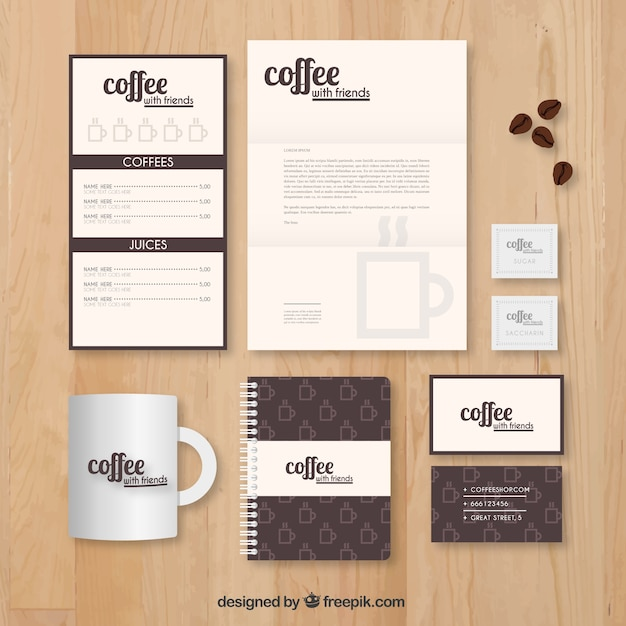 coffee shop stationery template vector free download
