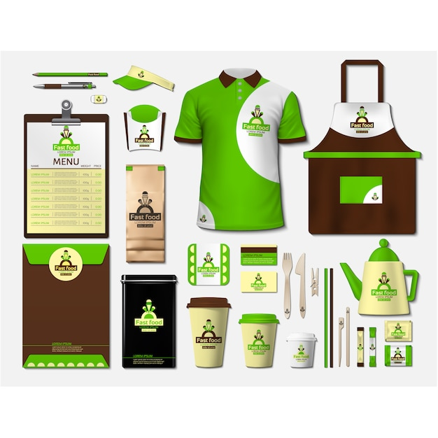 Coffee shop stationery with green design Free Vector