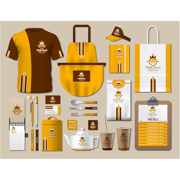 Coffee shop stationery with yellow design Free Vector