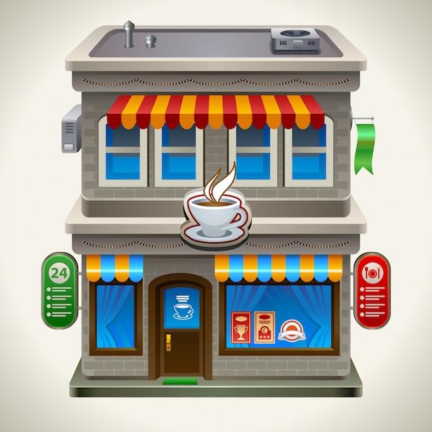コーヒーショップやカフェ。 Premiumベクター