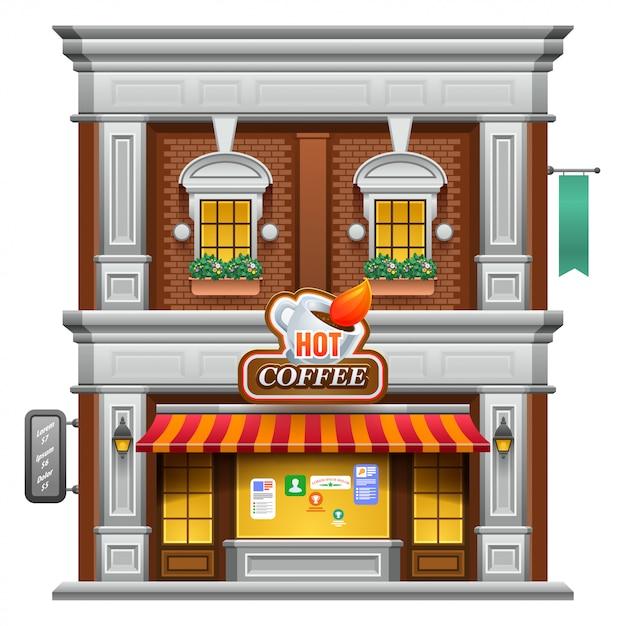 Кофейня магазин или кафе Premium векторы