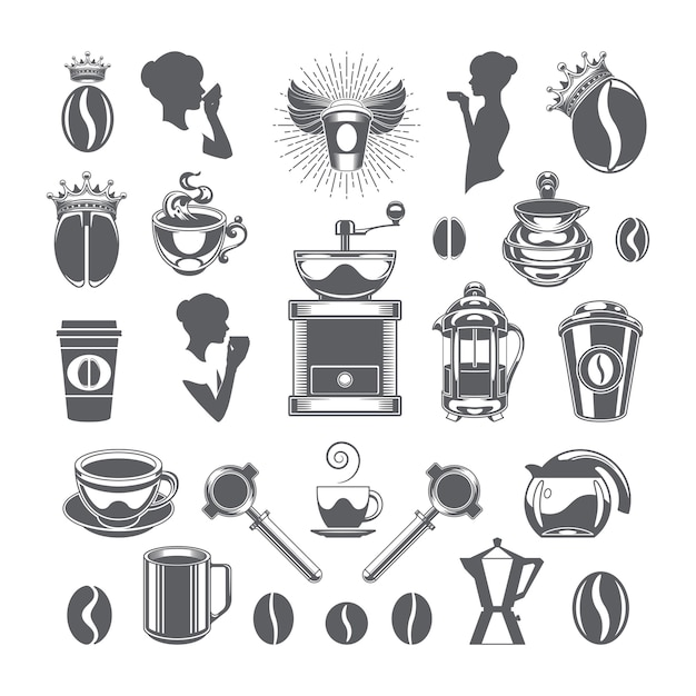 Coffee shop vector design elements objects and icons set. Premium Vector