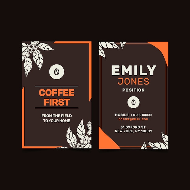 Coffee shop vertical business card Free Vector