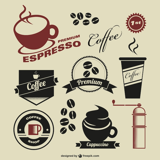 Coffee Shop Vintage Symbols Vector Free Download