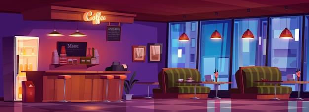 Кофейня с деревянной стойкой, табуретами, диванами и столами Бесплатные векторы