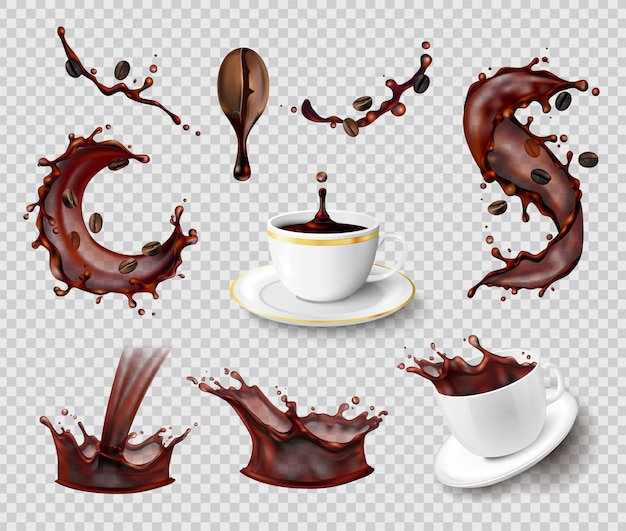 Кофе брызги реалистичный набор изолированных жидких брызг кофе в зернах и керамические чашки на прозрачной Бесплатные векторы