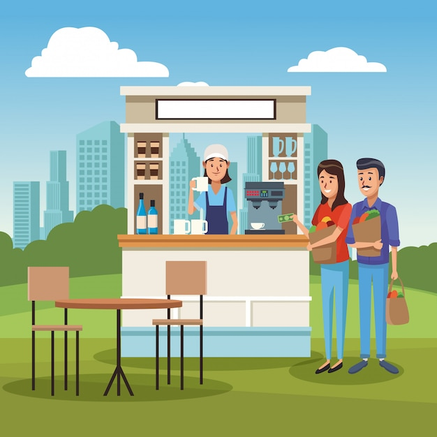 Coffee stand ar park Premium Vector