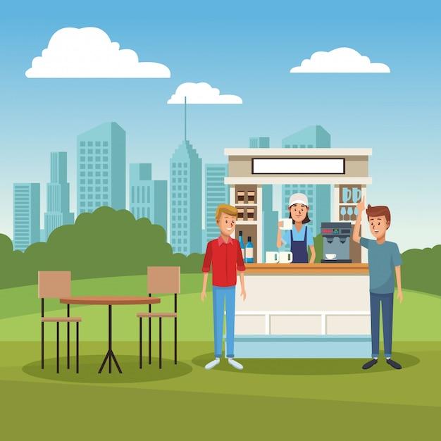 Coffee stand ar park Premium Vector