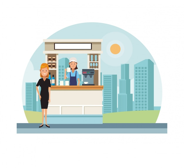 Coffee stand at city Premium Vector
