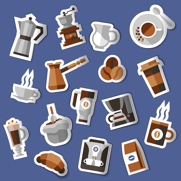 Coffee stickers set Free Vector