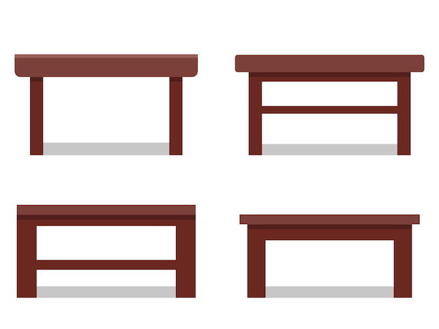 Coffee tables in flat .  icon. furniture for cartoon living room. Premium Vector