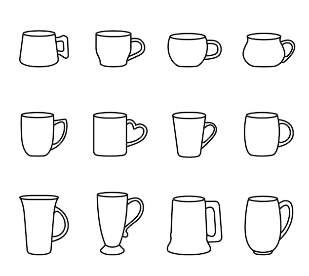 Coffee and tea cup icon set with white background. thin line style stock vector. Premium Vector