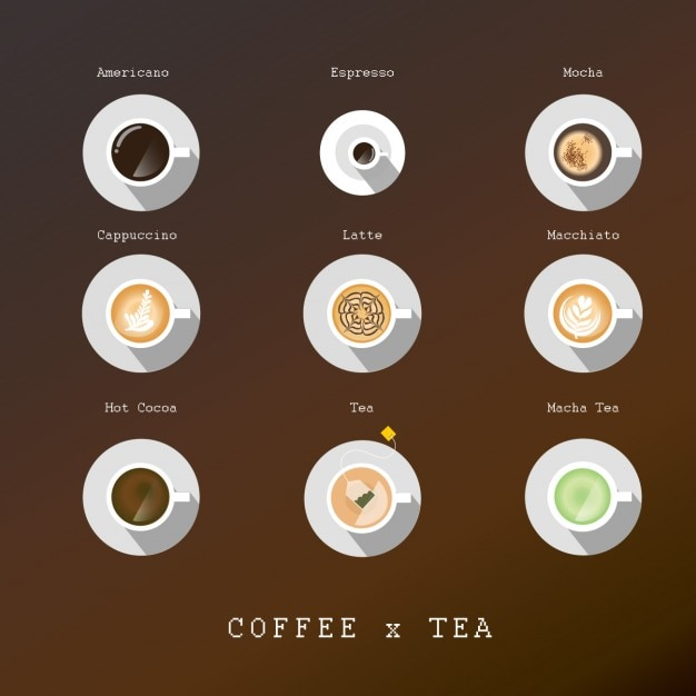 Coffee and tea cups Free Vector