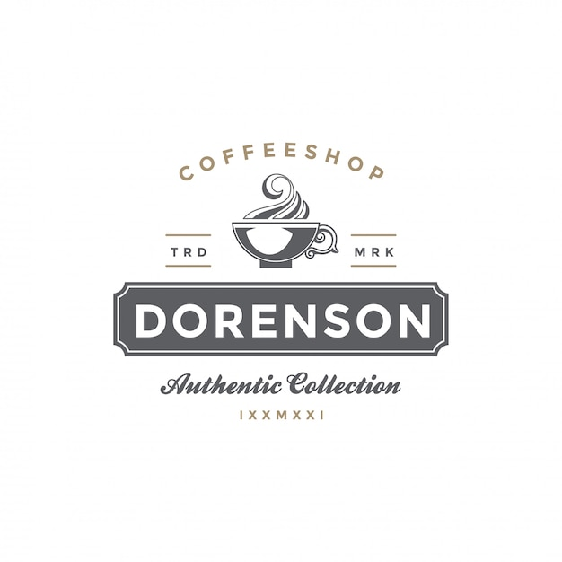 Coffee or tea shop emblem template cup silhouette Premium Vector
