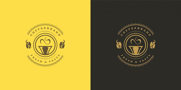 Coffee or tea shop logo template with bean silhouette good for cafe badge design and menu decoration Premium Vector
