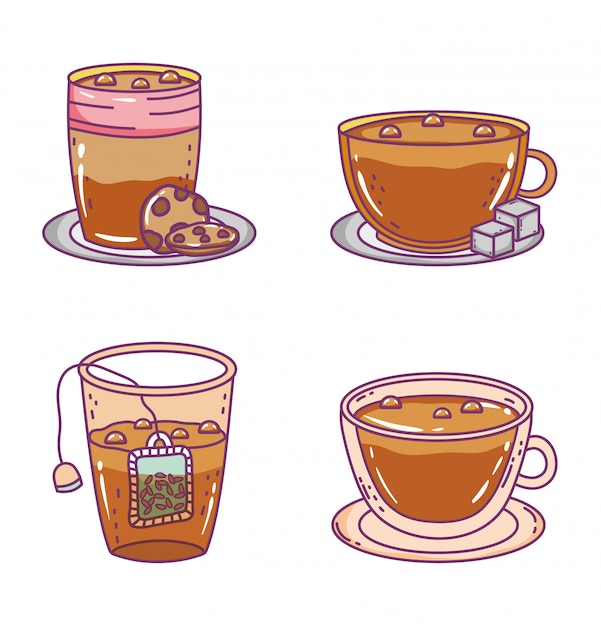 Coffee and tea time sketch flat Premium Vector