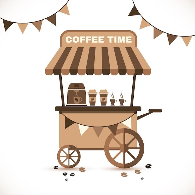 コーヒーテントとコーヒーショップのインテリア 無料ベクター