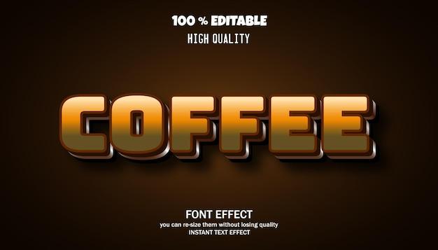 커피 텍스트 효과 편집 가능한 글꼴 프리미엄 벡터