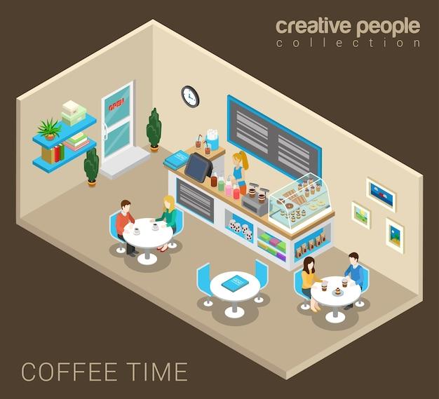 Кофе время абстрактное понятие кафе Бесплатные векторы