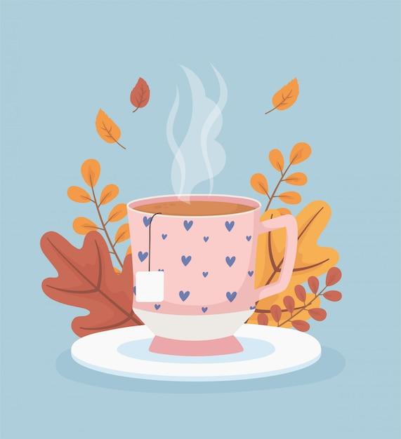 Кофе тайм и чай, чашка чайного пакетика на тарелке оставляет сезон Premium векторы