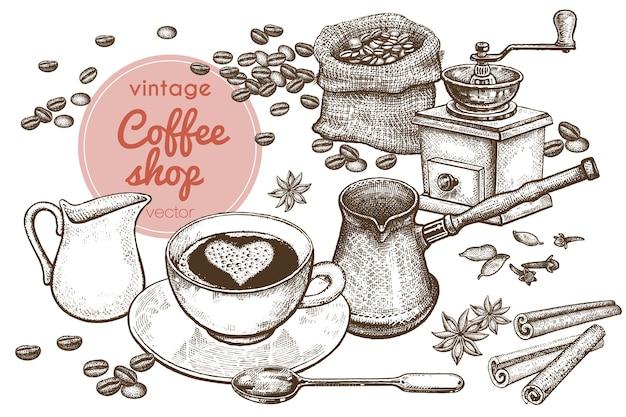 «время кофе» рука рисунок иллюстрации. Premium векторы