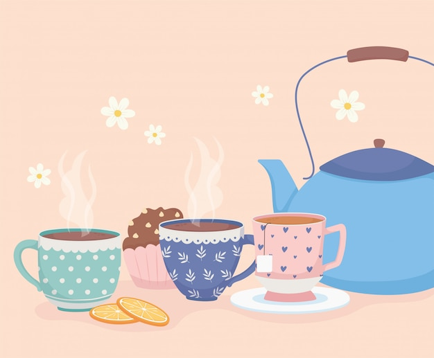 Coffee time and tea, blue kettle cups and sweet cupcake dessert Premium Vector