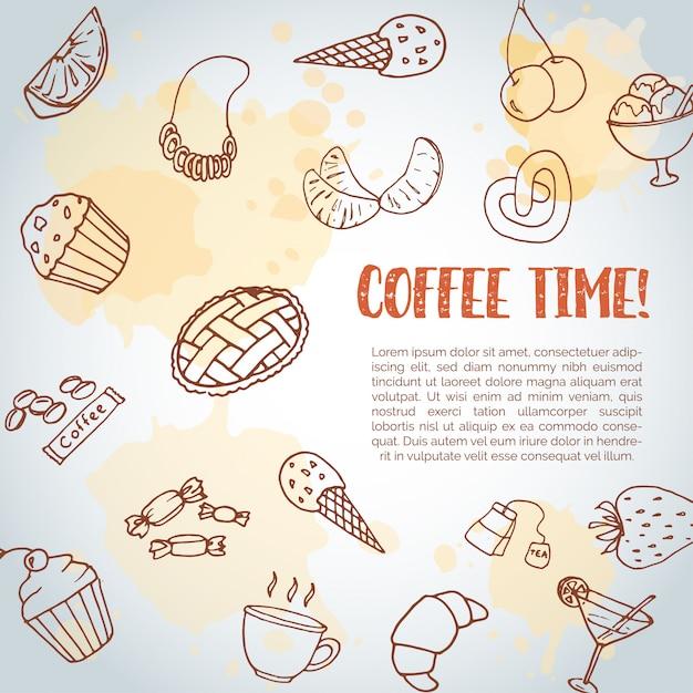 Время кофе текстовый фон. Premium векторы