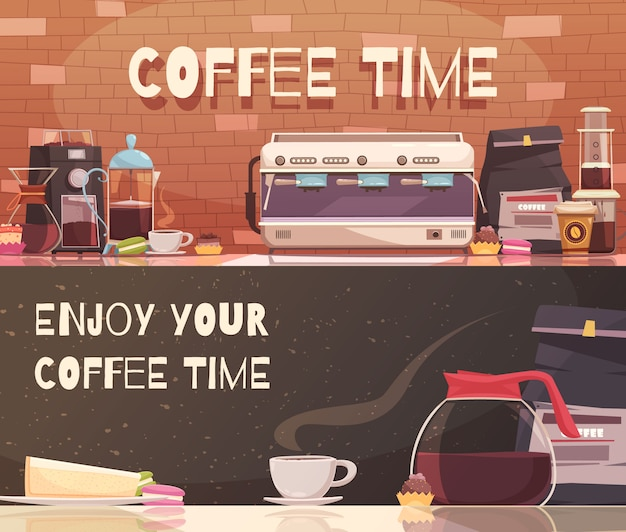 Coffee time two horizontal banners Free Vector