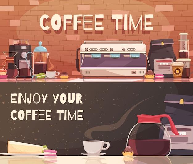Coffee time два горизонтальных баннера Бесплатные векторы