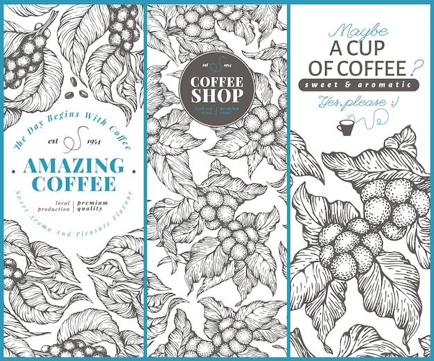 Coffee tree banner templates. Premium Vector