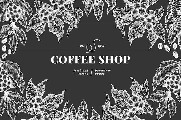 Coffee tree branch illustration template Premium Vector