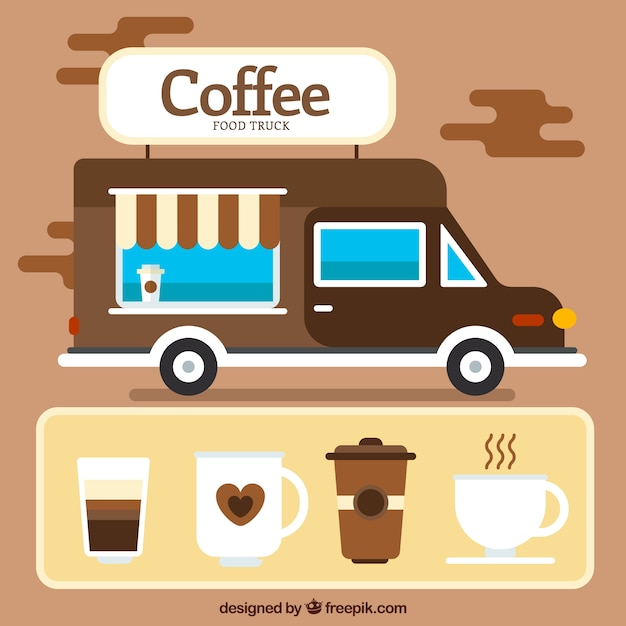 Coffee truck with elements in flat\ design