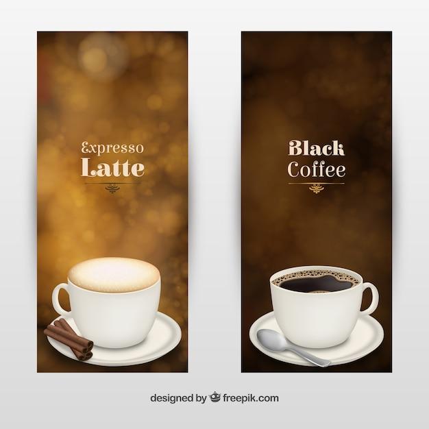 Tipo coffee brochures Vettore gratuito