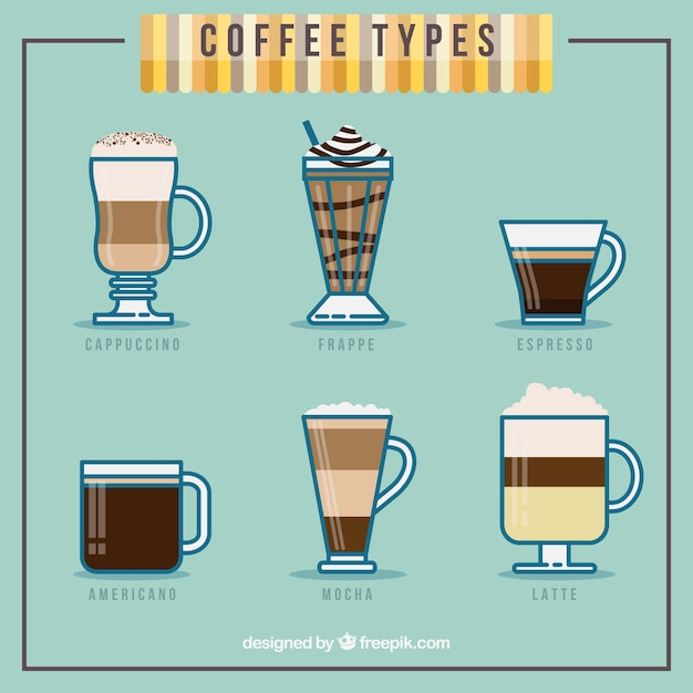Coffee Type Collection Vector Free Download